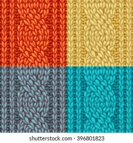 Colourful Six-Stitch Cable Stitch Textures. Vector left-twisting rope cable (C6F) seamless pattern. Vector knitting texture. Boundless background can be used for web page backgrounds.