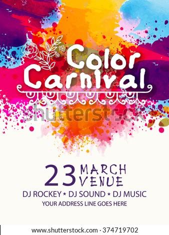 vetor stock de colourful splash decorated pamphlet banner flyer