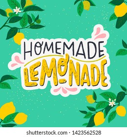Colourful summer card with citrus fruits and leaves frame and lettering inscription Homemade Lemonade. Hand drawn rhymed phrase decorated with flat style lemons on mint background. Vector illustration