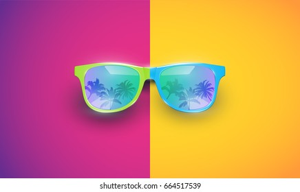 Colourful sunglasses with quicksilvering, vector illustration