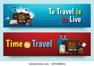 Colourful travel vector flat banner set for your business. Quality design illustrations, elements and concept. Trip plan. Vacation in Paradise. Vector illustration
