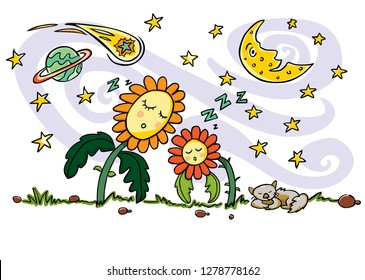 Colourful vector drawing. Cute sleeping sun flowers, cat, crescent moon, planet, comet and shooting stars elements. Quiet good night and space theme. Suitable to be printed on a pillow.