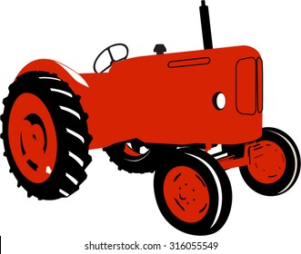 A Colourful Vector Illustration of a Vintage Tractor