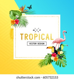 Colourful and vibrant tropical border design with flowers, palm leaves and birds. Vector illustration