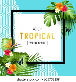 Colourful and vibrant tropical border design with flowers, palm leaves and butterflies. Vector illustration