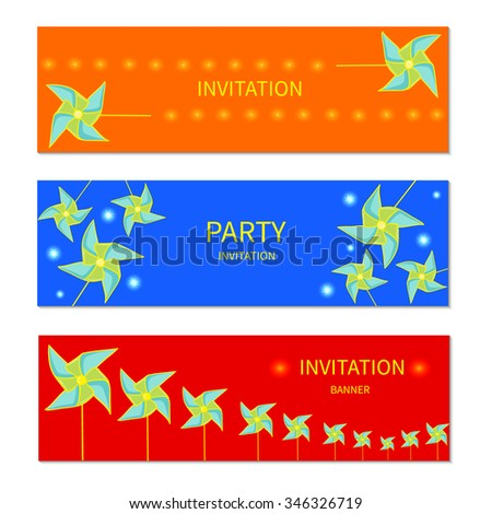 Colourful Windmill Banner Template Party Invitation Stock Vector