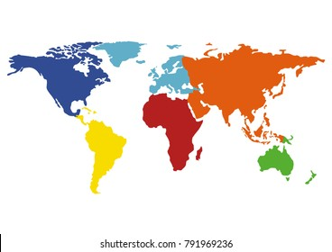 Colourful world blank map, Isolated on white background.