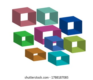Colourfull 3D Rounded rectangle render