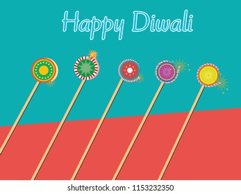 colourfull Diwali concept poster design.crackers on colourfull background with happy diwali written on top.