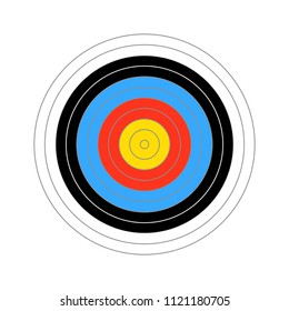 Colourfull score target for shooting practice isolated on white