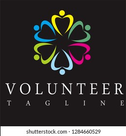 Colourfull volunteer logo designs, diversity on community