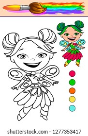 Colouring book page, game or exercise for kids. Vector.