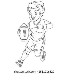 Colouring page. Cute cartoon boy playing rugby. Childish design for kids coloring book about people professions.