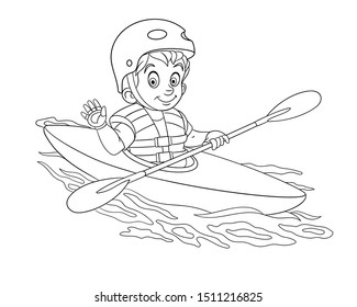 Colouring page. Cute cartoon boy canoeing, extreme sport kayaking. Childish design for kids coloring book about people professions.