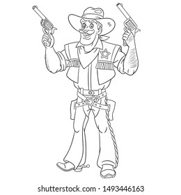Colouring page. Cute cartoon cowboy, retro american sheriff firing a gun. Childish design for kids coloring book about people professions.