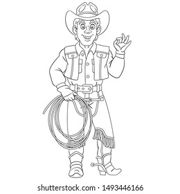 Colouring page. Cute cartoon cowboy, horse rider with lasso rope. Childish design for kids coloring book about people professions.