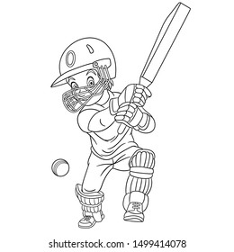 Colouring page. Cute cartoon cricket player, boy playing national british game. Childish design for kids coloring book about people professions.