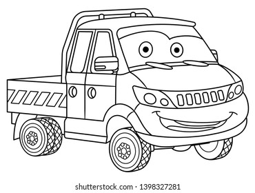 Colouring page. Cute cartoon delivery truck. Cargo business van. Childish design for kids coloring book.