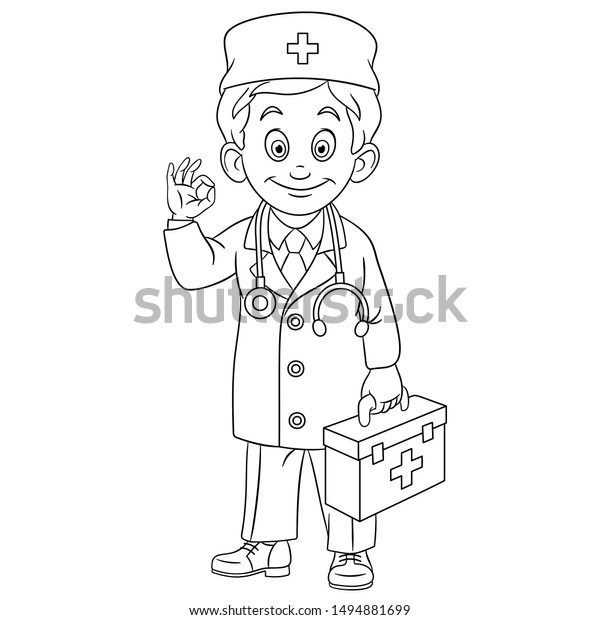 - Colouring Page Cute Cartoon Doctor Young Stock Vector (Royalty Free)  1494881699