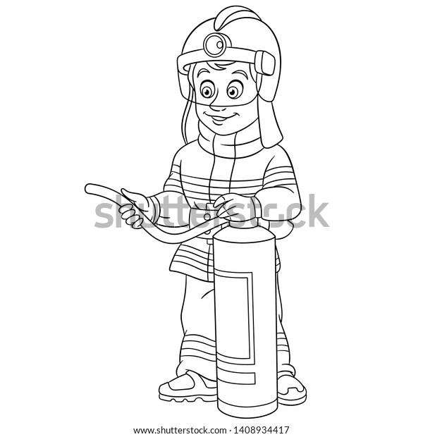 Colouring Page Cute Cartoon Fireman Fire Stock Vector ...