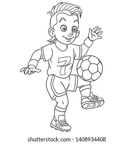 Colouring page. Cute cartoon footballer, young boy playing football. Childish design for kids coloring book.