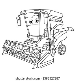 Colouring page. Cute cartoon harvester combine. Agricultural farming vehicle. Childish design for kids coloring book.