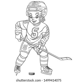 Colouring page. Cute cartoon hockey player, young boy playing winter team game. Childish design for kids coloring book about people professions.