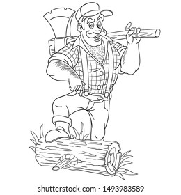 Colouring page. Cute cartoon lumberjack, strong man holding axe. Childish design for kids coloring book about people professions.