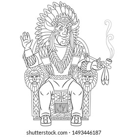 Colouring page. Cute cartoon native american indian chief smoking a pipe of peace. Childish design for kids coloring book about historical people.