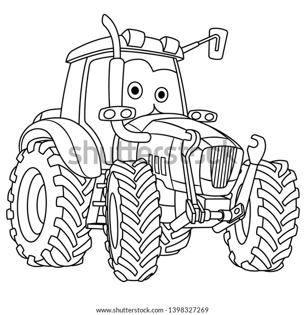 Vector De Stock Libre De Regalias Sobre Pagina Colorear Un Tractor De Dibujos1398327269 Ya sabemos que los niños adoran los dibujos para colorear , ¡y esta divertida carta no será la excepción! https www shutterstock com es image vector colouring page cute cartoon tractor agricultural 1398327269