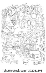 colouring page fairy house 260nw