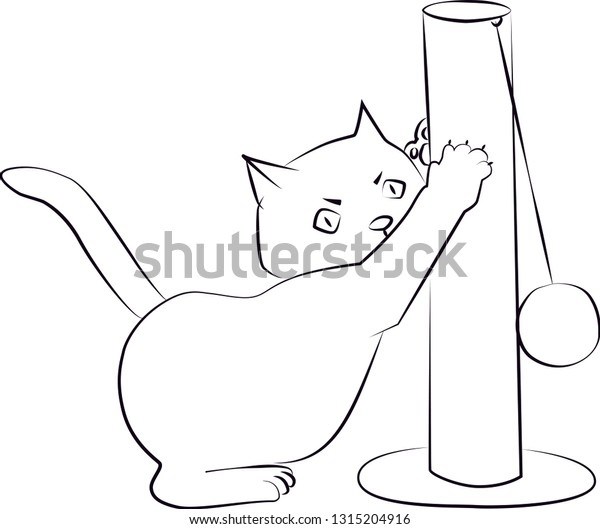 Colouring Page Outline Cartoon Cat Stock Vector (Royalty Free) 1315204916