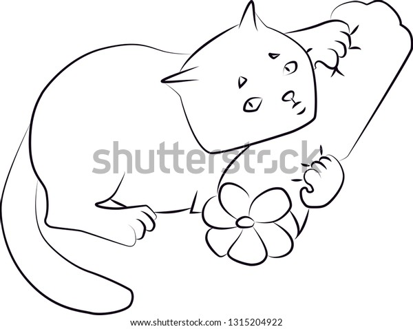 Colouring Page Outline Cartoon Cat Stock Vector (Royalty Free) 1315204922
