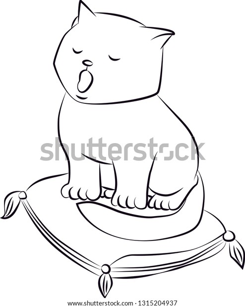 Colouring Page Outline Cartoon Cat Stock Vector (Royalty Free) 1315204937