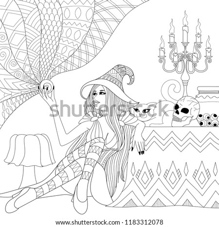 Colouring Pages Coloring Book For Adults And Teen Halloween Girl Or Witch Holding Crystal