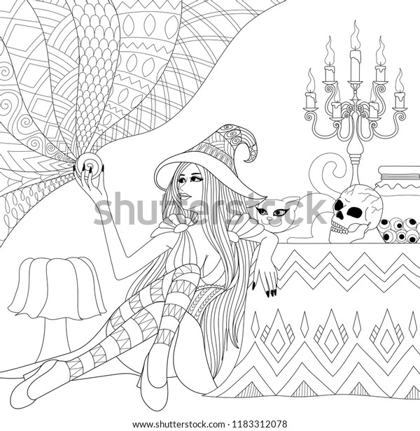 Colouring Pages Coloring Book Adults Teen Stock Vector ...