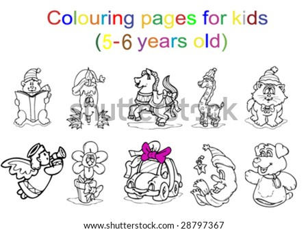 Colouring Pages Kids 56 Years Old Stock Vector (Royalty Free ...