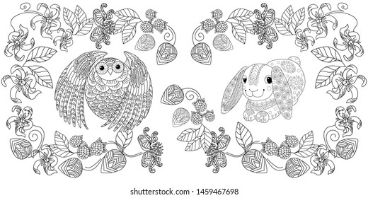 Colouring pictures with rabbit and birds. Antistress freehand sketch drawing with doodle and zentangle element.