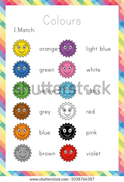 Colours Worksheet Learning English Young Learners Stock ...