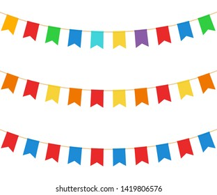 Colred celebrate flags set. Vector. Isolated.