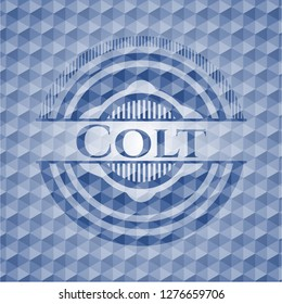 Colt blue emblem or badge with abstract geometric polygonal pattern background.