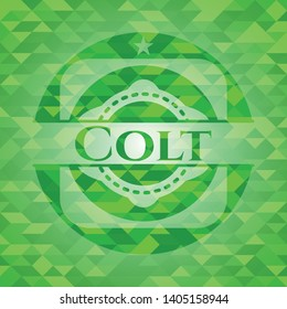 Colt green emblem with triangle mosaic background. Vector Illustration. Detailed.