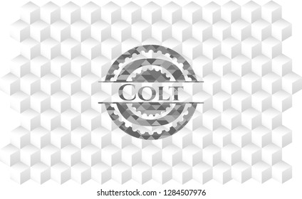 Colt grey emblem. Retro with geometric cube white background