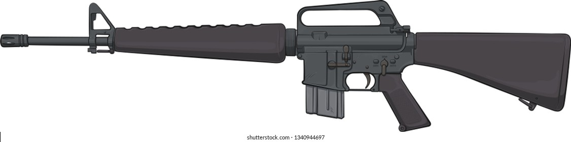 Colt Model M16-A1 assault rifle 1960. A military legend of Vietnam War (Vector Cartoon Art)