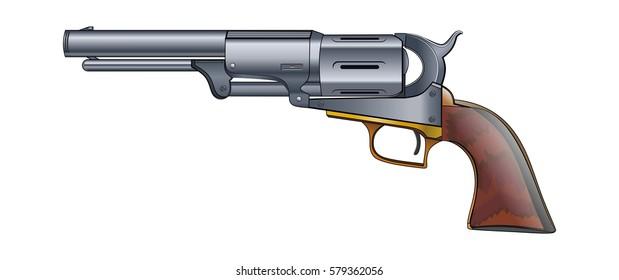 Colt Revolver Pistol on white background. Vector