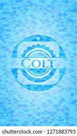 Colt sky blue emblem with triangle mosaic background