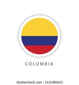 Columbia Button Flag Vector Template Design Illustrator