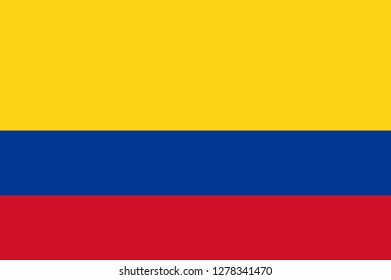 Columbia flag, official colors and proportion correctly. National Columbia flag. Vector illustration. EPS10. Columbia flag vector icon, simple, flat design for web or mobile app.