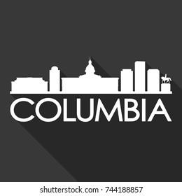 Columbia Flat Icon Skyline Silhouette Design City Vector Art Famous Buildings