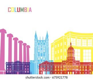 Columbia MO skyline pop in editable vector file